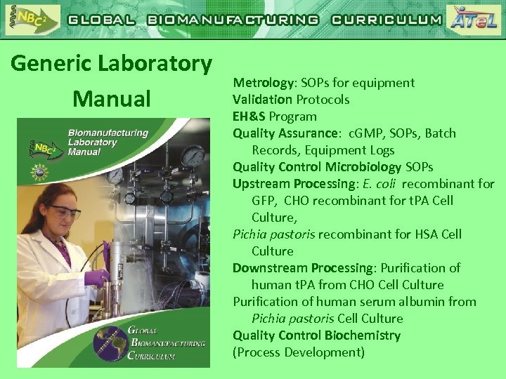 Generic Laboratory Manual Metrology: SOPs for equipment Validation Protocols EH&S Program Quality Assurance: c.