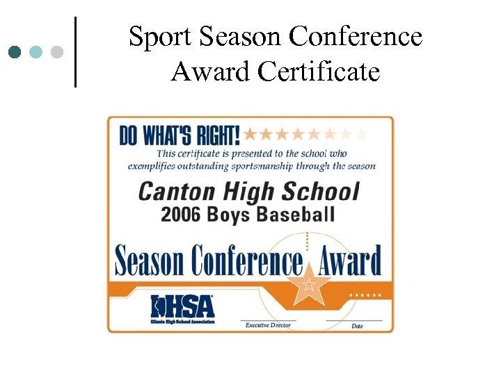 Sport Season Conference Award Certificate