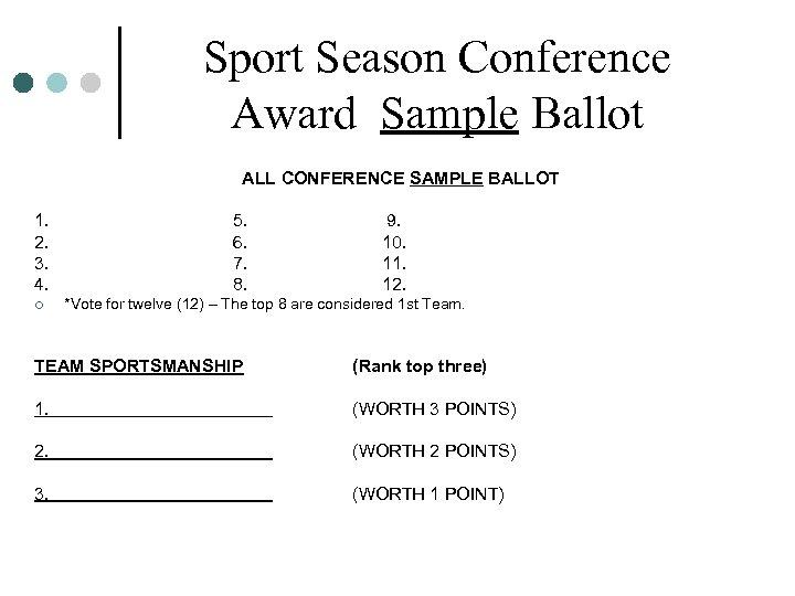 Sport Season Conference Award Sample Ballot ALL CONFERENCE SAMPLE BALLOT 1. 2. 3. 4.