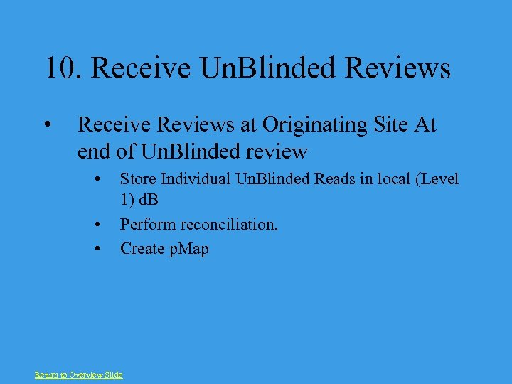 10. Receive Un. Blinded Reviews • Receive Reviews at Originating Site At end of