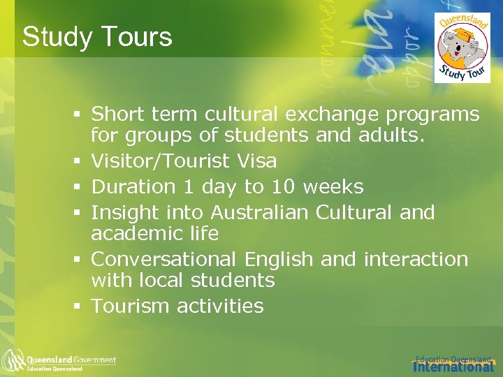 Study Tours § Short term cultural exchange programs for groups of students and adults.