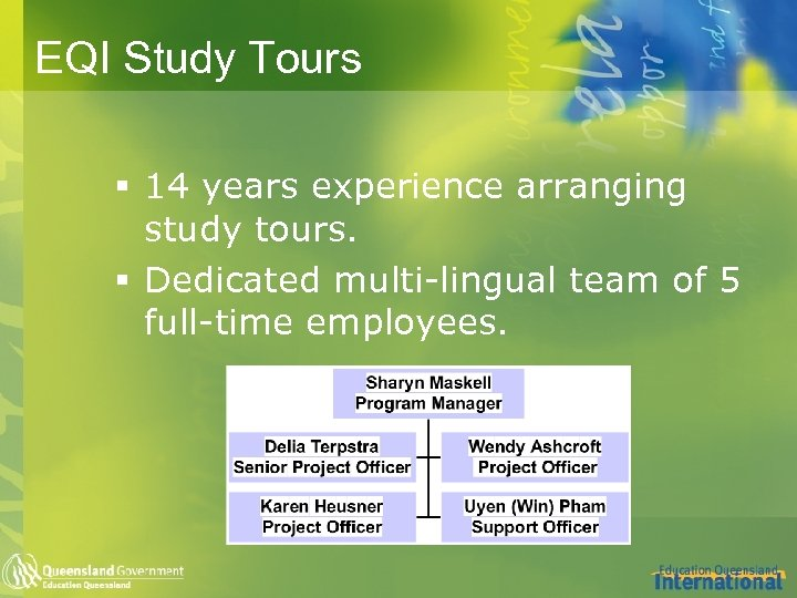 EQI Study Tours § 14 years experience arranging study tours. § Dedicated multi-lingual team