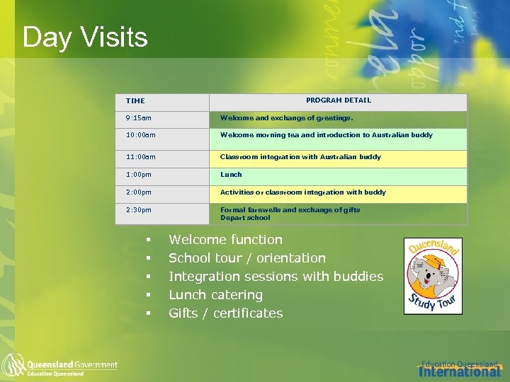 Day Visits PROGRAM DETAIL TIME 9: 15 am Welcome and exchange of greetings. 10: