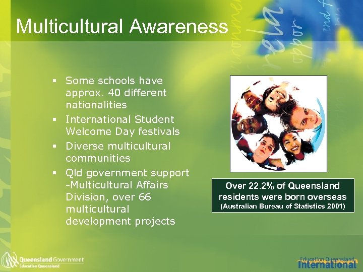 Multicultural Awareness § Some schools have approx. 40 different nationalities § International Student Welcome