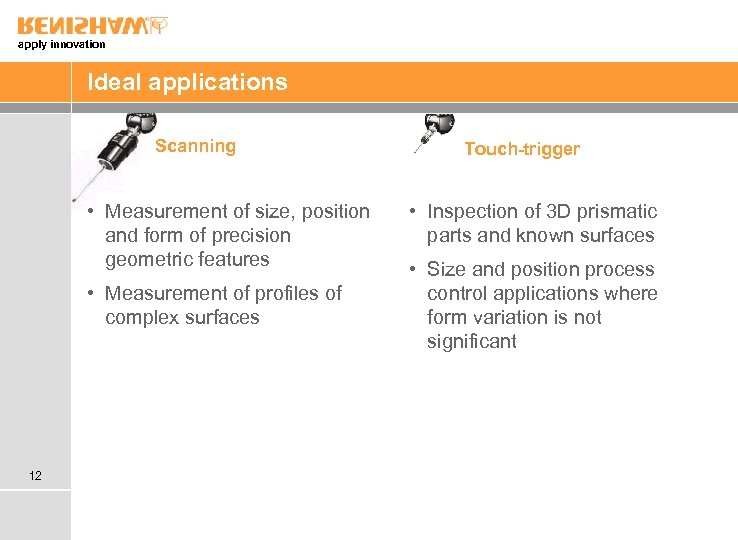 apply innovation Ideal applications Scanning • Measurement of size, position and form of precision