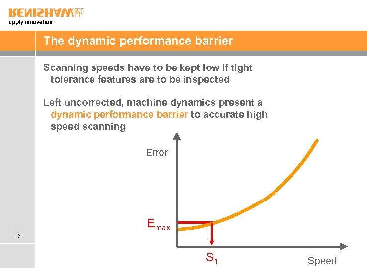 apply innovation The dynamic performance barrier Scanning speeds have to be kept low if