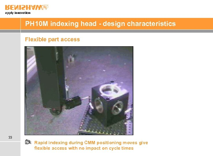apply innovation PH 10 M indexing head - design characteristics Flexible part access 33
