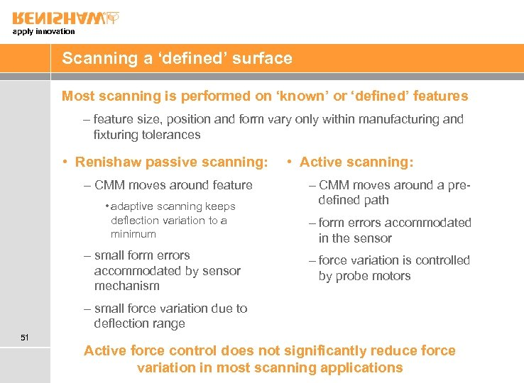apply innovation Scanning a 'defined' surface Most scanning is performed on 'known' or 'defined'