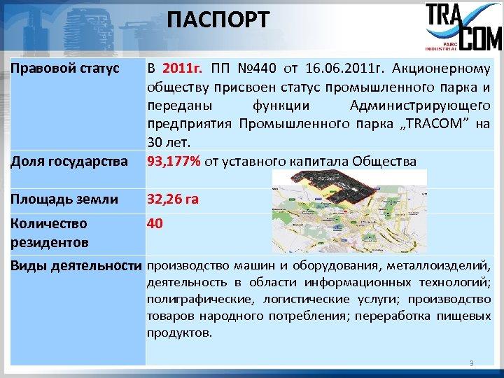 ПАСПОРТ Правовой статус Доля государства В 2011 г. ПП № 440 от 16. 06.
