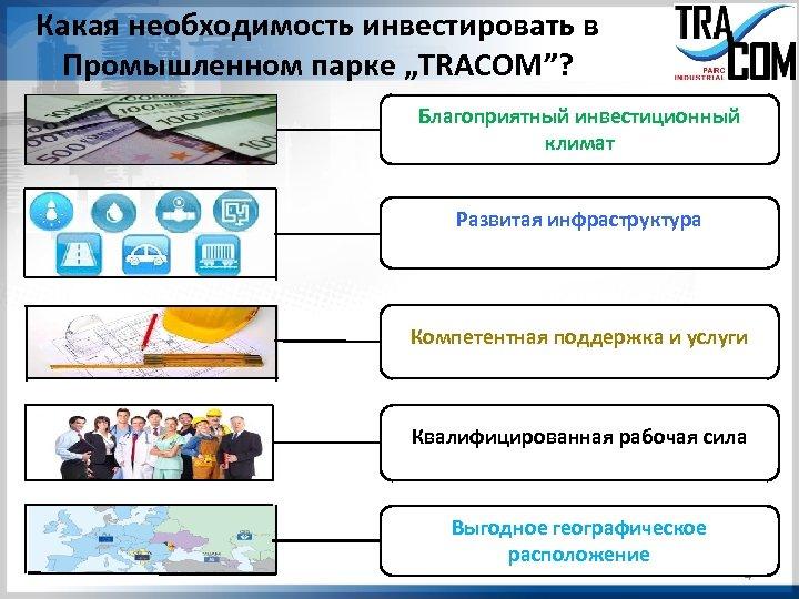 """Какая необходимость инвестировать в Промышленном парке """"TRACOM""""? Благоприятный инвестиционный климат Развитая инфраструктура Компетентная поддержка"""
