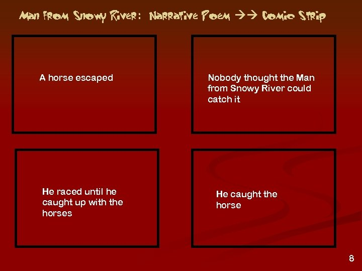 Man from Snowy River: Narrative Poem Comic Strip A horse escaped He raced until