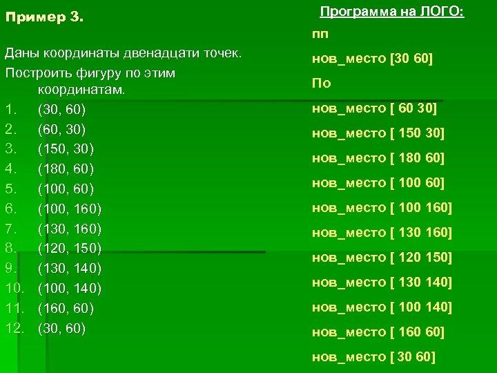 Пример 3. Даны координаты двенадцати точек. Построить фигуру по этим координатам. 1. (30, 60)