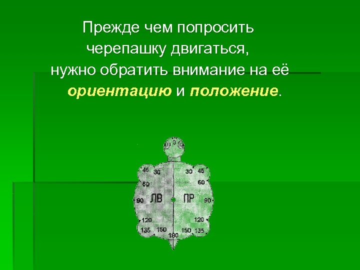Прежде чем попросить черепашку двигаться, нужно обратить внимание на её ориентацию и положение.