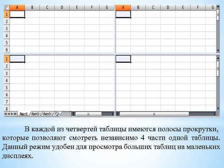 В каждой из четвертей таблицы имеются полосы прокрутки, которые позволяют смотреть независимо 4 части