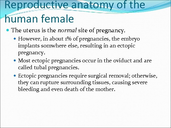 Reproductive anatomy of the human female The uterus is the normal site of pregnancy.