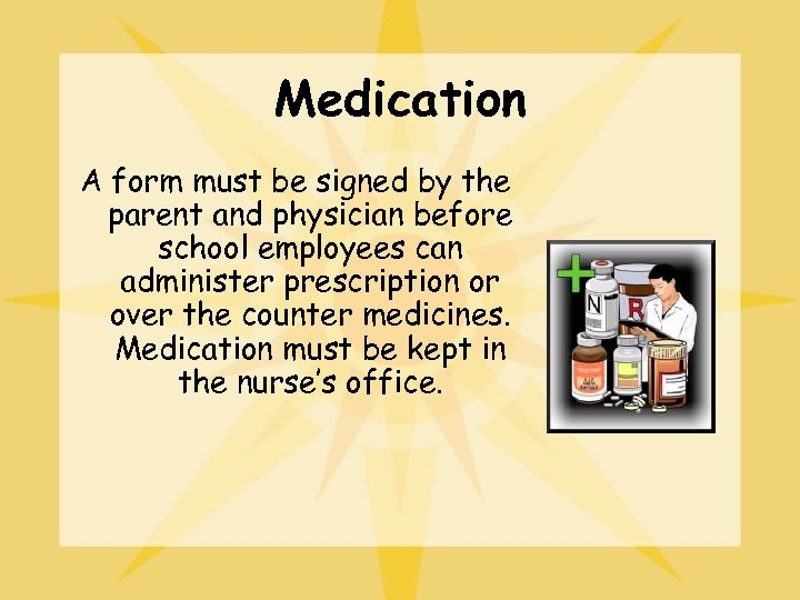 Medication A form must be signed by the parent and physician before school employees