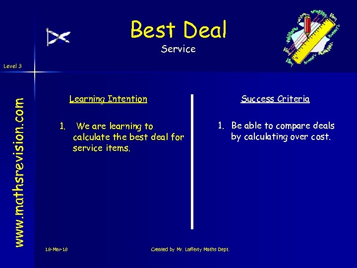 Best Deal Service www. mathsrevision. com Level 3 Learning Intention 1. 18 -Mar-18 Success
