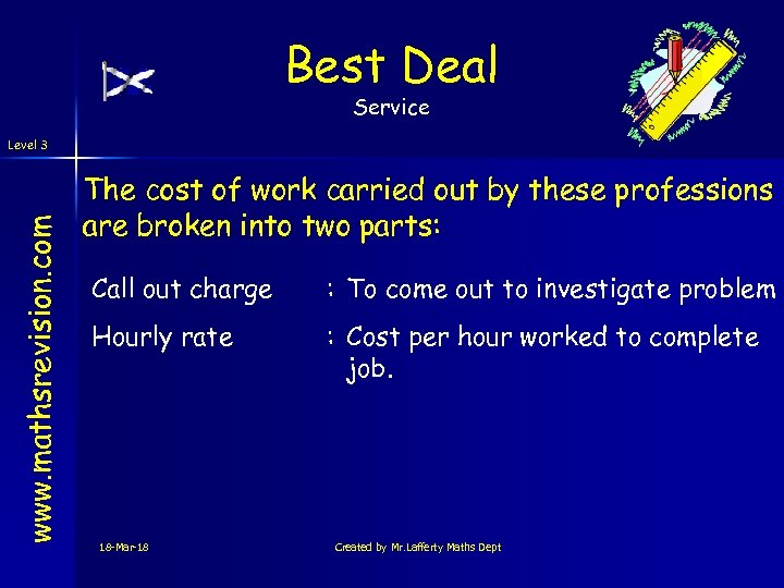 Best Deal Service www. mathsrevision. com Level 3 The cost of work carried out