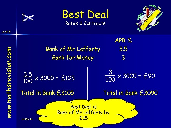 Best Deal Rates & Contracts www. mathsrevision. com Level 3 APR % 3. 5