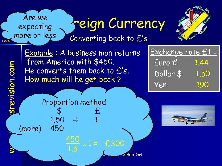 www. mathsrevision. com Level 3 Are we expecting more or less Foreign Currency Converting