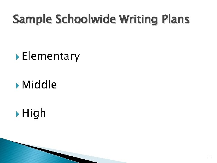 Sample Schoolwide Writing Plans Elementary Middle High 11