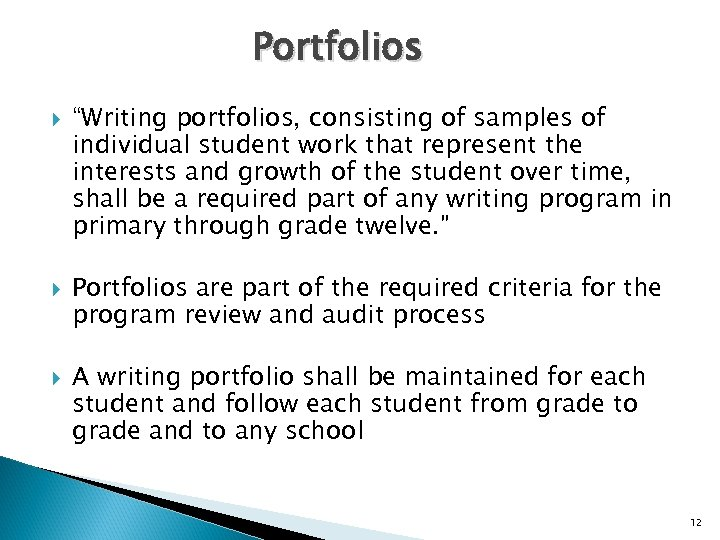 "Portfolios ""Writing portfolios, consisting of samples of individual student work that represent the interests"