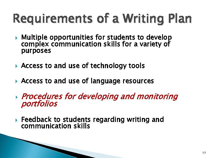 Requirements of a Writing Plan Multiple opportunities for students to develop complex communication skills