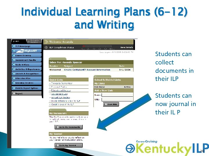 Individual Learning Plans (6 -12) and Writing Students can collect documents in their ILP