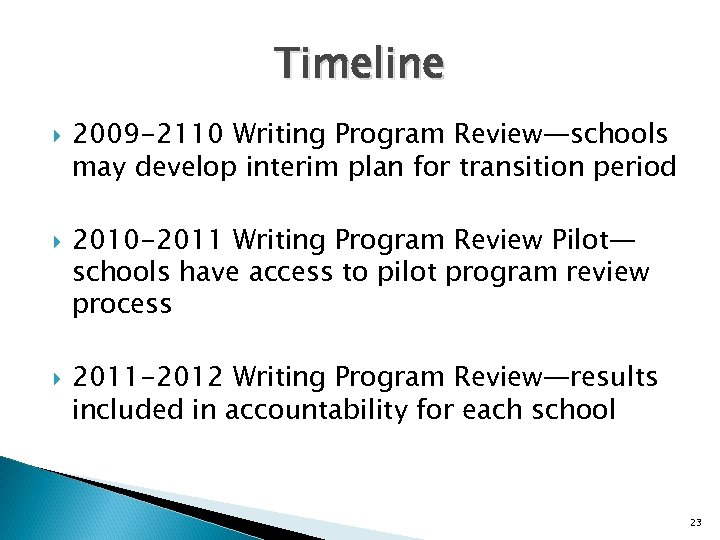 Timeline 2009 -2110 Writing Program Review—schools may develop interim plan for transition period 2010