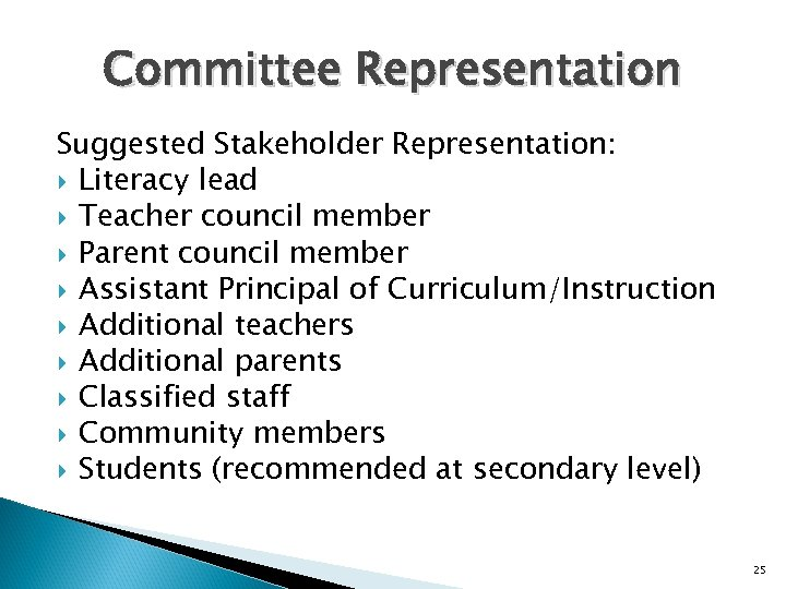 Committee Representation Suggested Stakeholder Representation: Literacy lead Teacher council member Parent council member Assistant