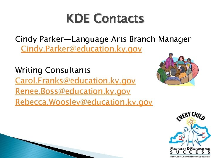 KDE Contacts Cindy Parker—Language Arts Branch Manager Cindy. Parker@education. ky. gov Writing Consultants Carol.