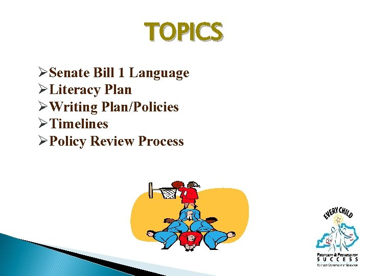 TOPICS ØSenate Bill 1 Language ØLiteracy Plan ØWriting Plan/Policies ØTimelines ØPolicy Review Process