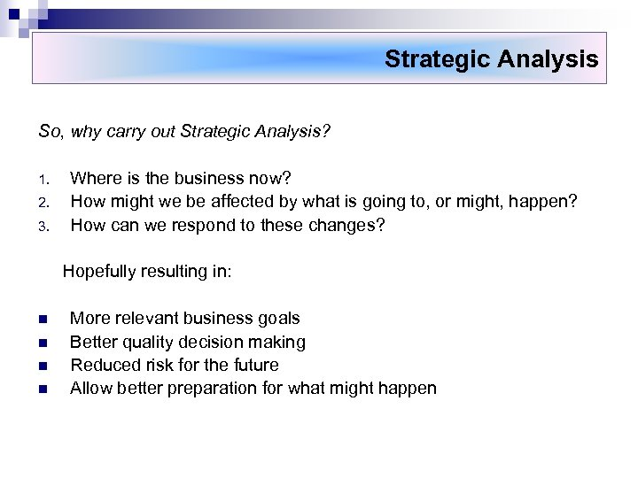 Strategic Analysis So, why carry out Strategic Analysis? 1. 2. 3. Where is the
