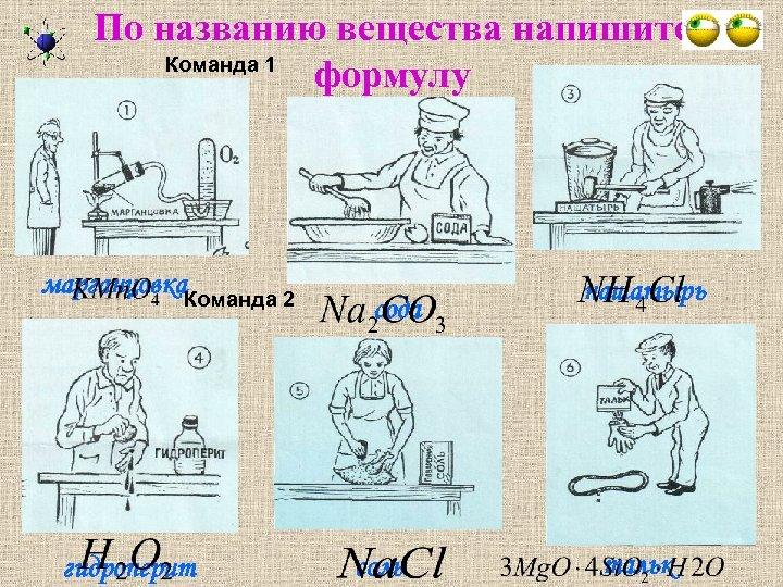 По названию вещества напишите Команда 1 формулу марганцовка. Команда 2 гидроперит сода соль нашатырь