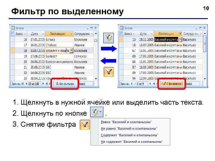 Фильтр по выделенному 10 1. Щелкнуть в нужной ячейке или выделить часть текста. 2.