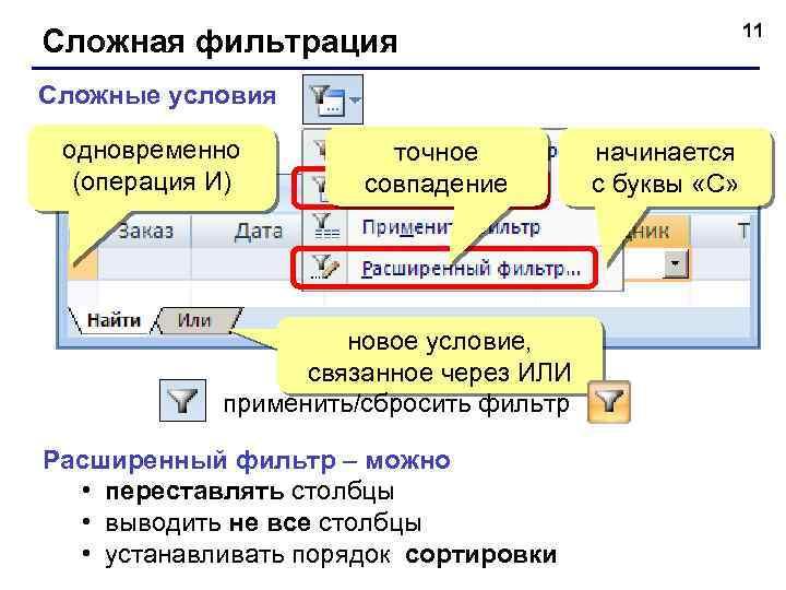 11 Сложная фильтрация Сложные условия одновременно (операция И) точное совпадение новое условие, связанное через