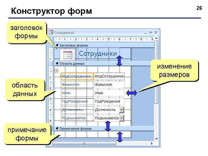 26 Конструктор форм заголовок формы изменение размеров область данных примечание формы