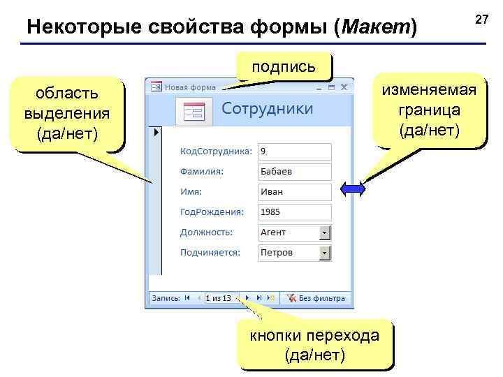 Некоторые свойства формы (Макет) 27 подпись изменяемая граница (да/нет) область выделения (да/нет) кнопки перехода