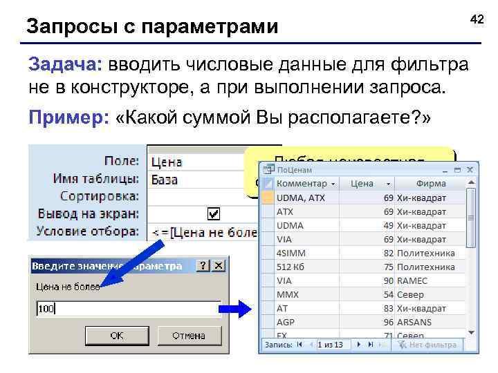 Запросы с параметрами Задача: вводить числовые данные для фильтра не в конструкторе, а при
