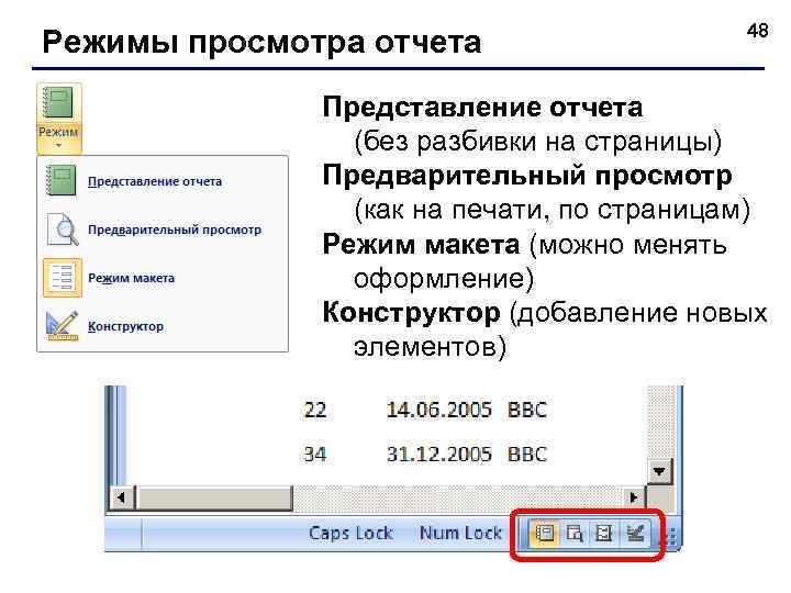 Режимы просмотра отчета 48 Представление отчета (без разбивки на страницы) Предварительный просмотр (как на