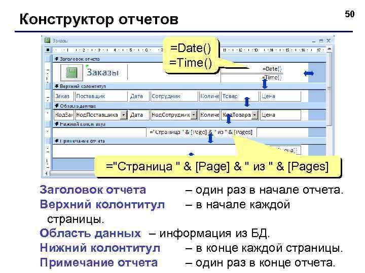 Конструктор отчетов =Date() =Time() =