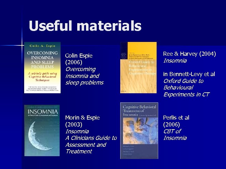 Useful materials Colin Espie (2006) Ree & Harvey (2004) Insomnia Overcoming insomnia and sleep