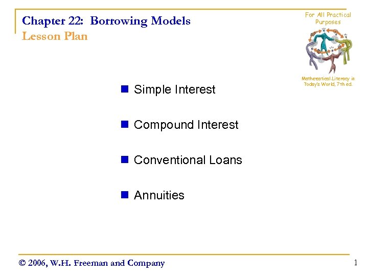 Chapter 22: Borrowing Models Lesson Plan n Simple Interest For All Practical Purposes Mathematical