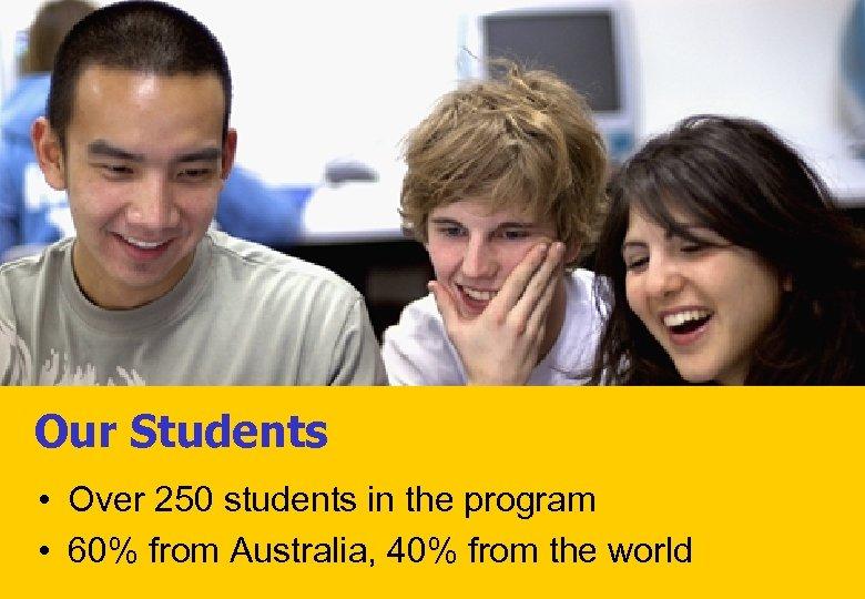 Our Students • Over 250 students in the program • 60% from Australia, 40%