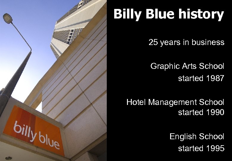Billy Blue history 25 years in business Graphic Arts School started 1987 Hotel Management
