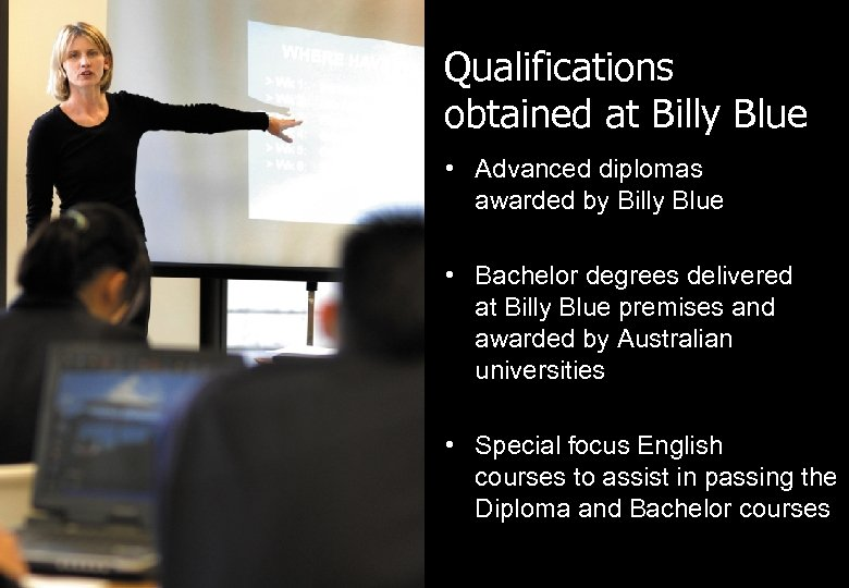 Qualifications obtained at Billy Blue • Advanced diplomas awarded by Billy Blue • Bachelor