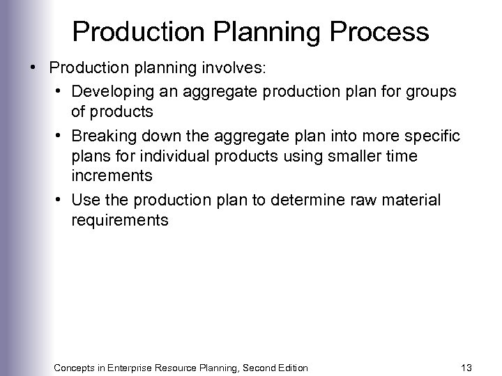 Production Planning Process • Production planning involves: • Developing an aggregate production plan for