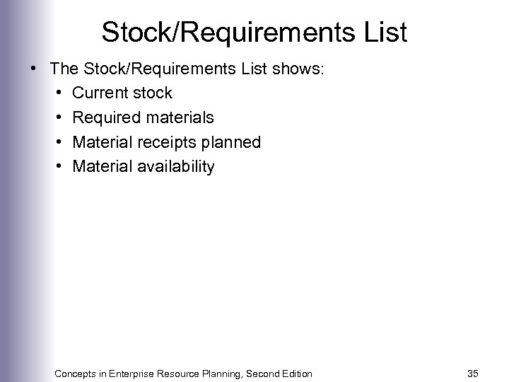 Stock/Requirements List • The Stock/Requirements List shows: • Current stock • Required materials •