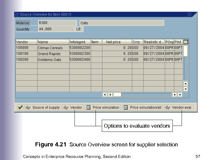 Options to evaluate vendors Figure 4. 21 Source Overview screen for supplier selection Concepts