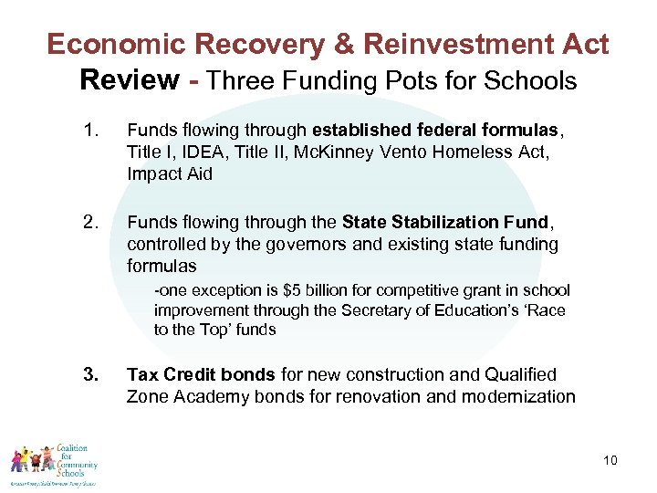 Economic Recovery & Reinvestment Act Review - Three Funding Pots for Schools 1. Funds